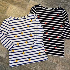 J.crew stripe 🍒 🍍 embroidered 3/4 sleeve fruit